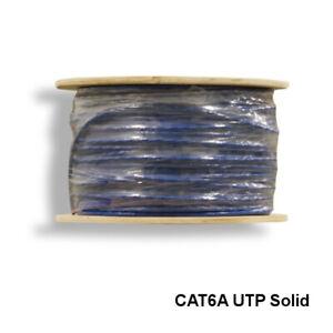 Kentek Blue 1000' CAT6A UTP Solid Bulk Cable 24 AWG Bare Copper 600 MHz Ethernet
