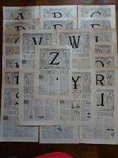 Complete alphabet, 26 letters  .Art Nouveau.. lithograph print..Larousse C1920