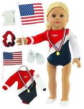 "USA Complete Gymnastics Leotard Set fits 18"" American Girl Doll Clothes"