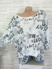 Tunika Oversize Lagenlook Bluse Shirt Schrift Leinen Look 42 44 46 Weiß P268 Neu