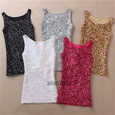 Women Ladies Sexy Sequin Vest Bling Singlet Sleeveless Glitter Slim Tank Top New