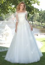 White Ivory A Line Wedding Dress Half Sleeve Bridal Gowns Custom Size4+6+8+10++