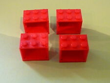 Lego 4 coffres rouges set 4841 725 6434 7993 / 4 red containers w/ solid studs