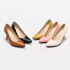 Women's High Heels Synthetic Leather Pointed Shoes Pumps Classics US Size D182