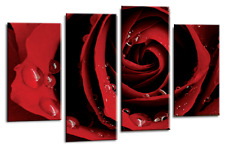 RED ROSE FLORAL LOVE ART PICTURE FLOWER CANVAS WALL MULTI 4 PANEL 112cm