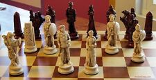 "HUGE GREEK vs EGYPTIAN CHESS MEN - HAND MADE SET K=4.5"" (rosewood) 584"