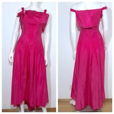 Womens Vintage 1980s Hot Pink Prom Dress Satin Bow XS S Sleeveless Long Party