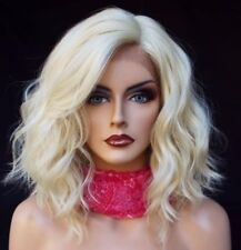 Lace Front Wig New Fashion Charm Womens Short Platinum Blonde Wavy Hot Full Wigs