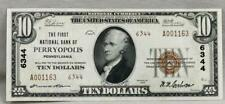 New listing 1929 Type 1 $10 First National Bank Of Perryopolis Charter 6344! Nice!