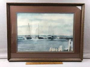 Original Watercolor Painting on Paper Signed Sailboats Seascape Framed