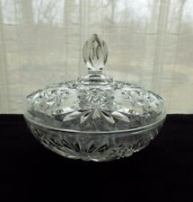 """Anchor Hocking Glass Clear Early American Prescut 7 1/4"""" Covered Candy Box Bowl"""