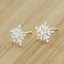 Elegant 925 Sterling Silver Snowflake leaves Crystal Stud Earrings Jewelry Women