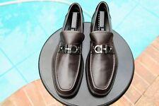 Salvatore FERRAGAMO Man's Brown smooth  leather horse bit    loafers Sz 11D