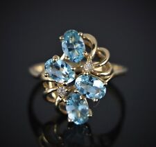 $995 10K Solid Yellow Gold Oval Aquamarine Round Diamond Cocktail Ring Band 6.75