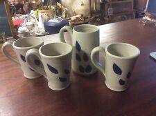 Williamsburg Pottery Blue/Gray Salt Glazed Mugs Set of 4