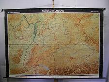 Murs carte Bavière wurtemberg Lac de Constance Alpes relief carte 245x167 ~ 1960 carte