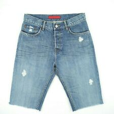 FCUK - Blue Faded Distressed Raw Hem Jean Shorts Men's Size 30 Modified