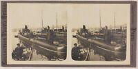 Toulon Barche Della Torpedine Francia Foto Stereo Th2n3 Vintage c1900