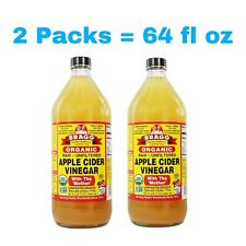 2 Packs - Bragg Organic Raw Apple Cider Vinegar 32 fl oz Total 64 fl oz