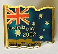Australia Day 2002 Sunday Telegraph Flag Pin Badge Rare Vintage (J2)