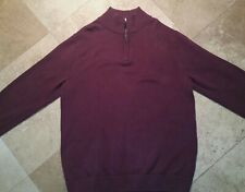 LL Bean 1/4 Zip Pullover Sweater 100% Cotton Red Wine XL Tall