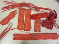 Bondage Kit 7 Piece Set Red Restraints Sex Toy Cuffs Whip Gag Rope Collar