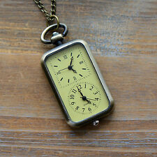 Dual Time Zone Double Face Pocket Watch Pocketwatch Necklace - Antique Bronze