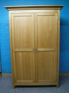 LARGE WIDE SOLID OAK WOOD DOUBLE 2DOOR WARDROBE H195 W130cm- VISIT OUR WAREHOUSE