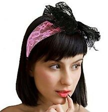 80s Neon Fancy Dress Lace Alice Band PINK