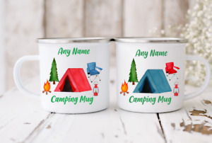 Personalised Camping Mugs Cups High Quality Enamelled Coffee Tea Gift