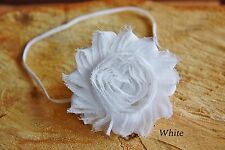 Girl Baby Elastic Headband Hair Band Shabby Flower Rose Christening Wedding