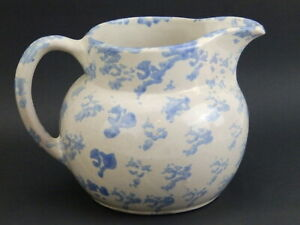 "Bybee Blue & Tan Spongeware 6"" Water Beverage Drink Pitcher"