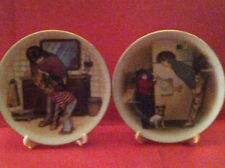 Avon Special Memories Plates~New Tooth(1986)Creation of Love(1985)22kt w/Easels