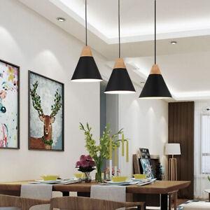 3X Black Pendant Light Wood Ceiling Lamp Modern Lights Home Chandelier Lighting