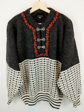 Vtg Norwool Norway Wool Ski Sweater Pewter Clasps Men M Alpine Nordic Fair Isle