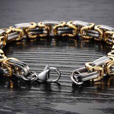 8mm Width Men Byzantine Chain Stainless Steel Wristband Fashion Bracelet