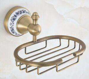 Antique Brass Bathroom Shower Soap Basket Wall Mounted Soap Dish Holder Gba777