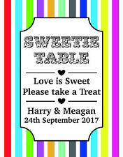 Personalised Sweet Candy Sweetie Bar Photo Table Sign Party Decor Christmas Post