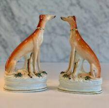Pair Antique Staffordshire Seated Whippet Greyhound Hunting Dogs w/ Rabbits