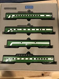 N SCALE KATO PASSENGER TRAIN BURLINGTON NORTHERN BN 4 CAR 106-027
