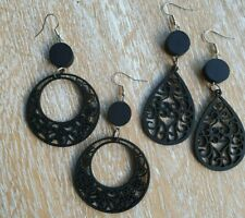 E39 light weight wooden filigree  drop dangle drop earrings