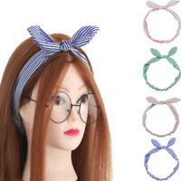 Multicolored Bowknot Headwrap  Striped Headband Turban Elastic Hairband