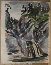 """Horst Heinen (1927-2001) """"Gebirgslandschaft mit Wasserfall"""" Großes Aquarell"""