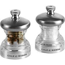 Cole & Mason Precision Compact Salt & Pepper Mill Set, Pre-Filled - Grind Button