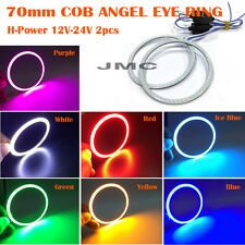 2X 70mm White Red Blue Green Purple Yellow Led COB Angel eyes Fog Lamp halo ring