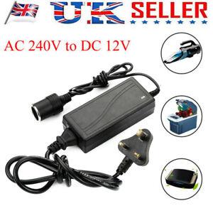 60W 240V Mains To 12V DC Adaptor Cigarette Lighter Converter Car Charger UK Plug