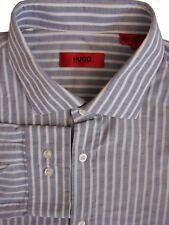 HUGO BOSS Shirt Mens 16 M Grey - White Stripes