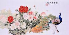 100% ORIGINAL FINE ART CHINESE WATERCOLOR PAINTING-Peacock birds&Peony flowers