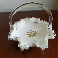 """FENTON Art Glass VIOLETS in the SNOW Silver Crest 7"""" BASKET - P. Wagner"""