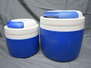 2 Igloo Elite Blue & White Water Cooler Jugs 1 Gallon & 1/2 Gallon